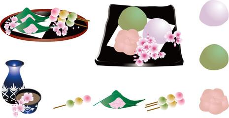 桜のお花見に桜餅や桜のお団子と三色串団子に江戸切子のおちょこととっくりのイラストセット素材