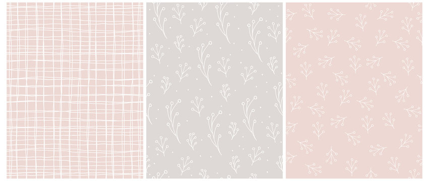 Seamless Vector Patterns with White Irregular Hand Drawn Grid and Abstract Twigs Isolated on a Pastel Pink and Light Warm Gray Background. Simple Geometric and Floral Prints for Fabric,Wrapping Paper.