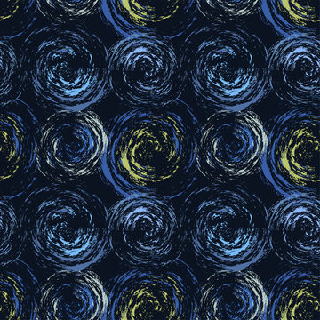 Seamless abstract pattern in the style of Van Gogh. Creative print with impressionistic swirls on dark background. Hand-drawn artistic texture, backdrop. Wonderful Art Wallpapers, fabrics, covers...