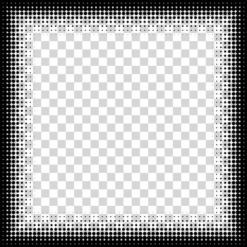 Photo frame, square halftone. Vector frame of points. Decorative overlay element. Isolated background.