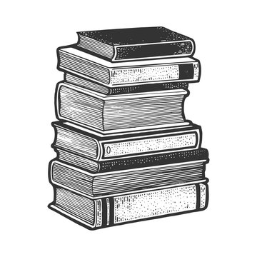 Stack of books sketch engraving vector illustration. T-shirt apparel print design. Scratch board imitation. Black and white hand drawn image.