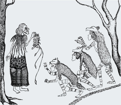 Vector drawing of old witch and werewolves meeting in forest
