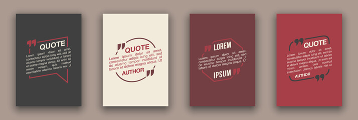 Quote speech bubble blank templates set. Text in brackets on flat paper, citation frames, quote bubbles. Textbox isolated on color background. Modern typography flat design cloud. Vector illustration.