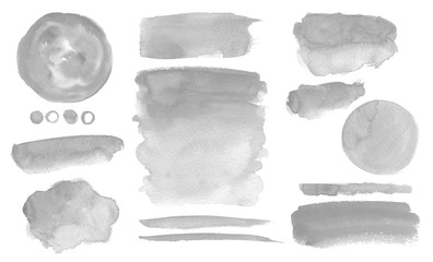 Grey watercolor stains and washes Set of brush strokes Invitation decor Wall mural