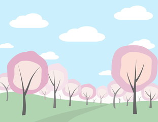 Printed kitchen splashbacks Light blue Spring landscape in the blooming orchard