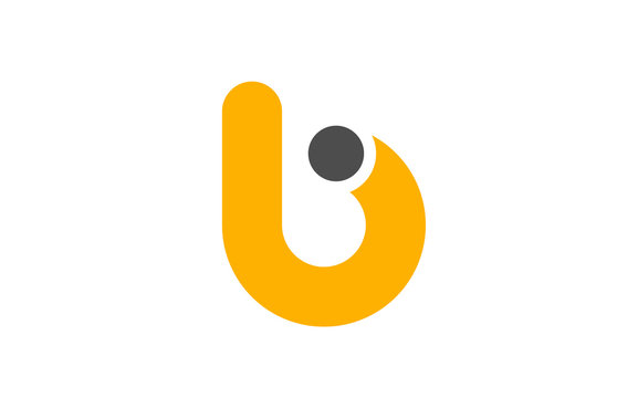 letter B logo alphabet design icon for business yellow grey