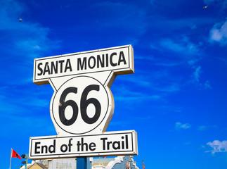 Foto auf AluDibond Route 66 End of route 66 sign post in Santa Monica