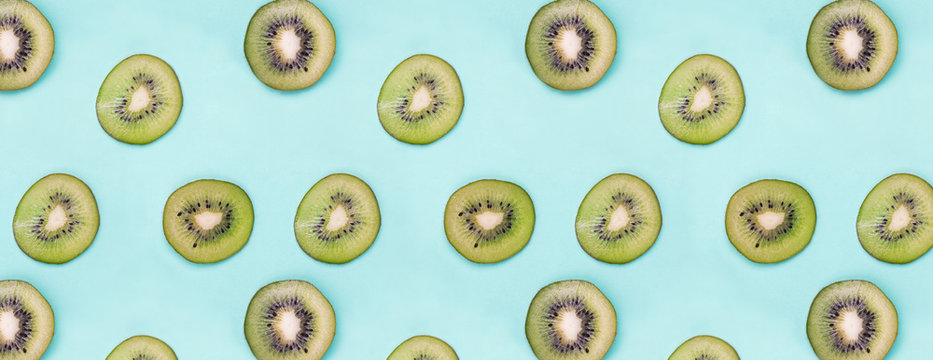 Sliced fresh organic kiwi fruits.