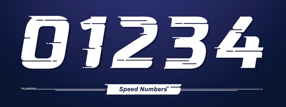 Numbers Speed style in a set 01234