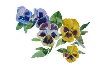 Papiers peints Pansies corner pattern watercolor pansy bouquet blue yellow violet original illustration