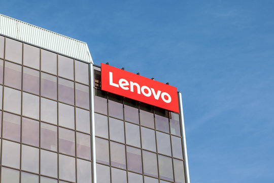 Markham, Ontario, Canada - May 21, 2018: Sign of Lenovo at Lenovo Canada head office near Toronto in Markham. Lenovo is a Chinese technology company with headquarters in Beijing, China.
