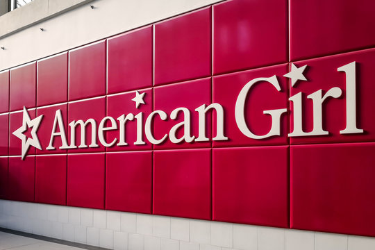 Toronto, Canada - January 04, 2019: Sign of American Girl in the Eaton Centre Mall in Toronto, Canada. American Girl is an American line of 18-inch (46 cm) dolls released in 1986 by Pleasant Company.