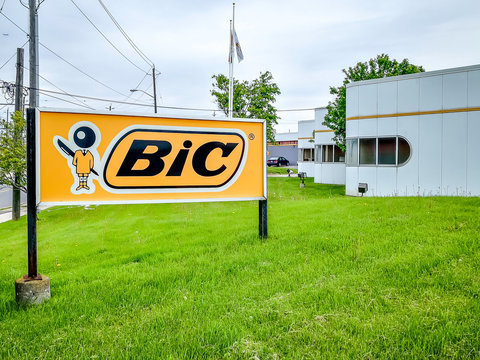 Toronto, Canada - June 4, 2019: Bic Inc Canada head office in Toronto, Canada. BiC is a Stationery wholesaler based in France, best known for making disposable consumer products.