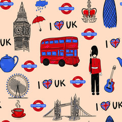 In de dag Doodle English, london, fashion, travel , architecture vector seamless pattern . Concept for print, textile, wallpaper, wrapping paper