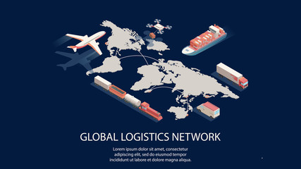 Isometric global logistics network concept. Air, cargo trucking rail, transportation maritime shipping, delivery by DRON, on-time delivery Wall mural