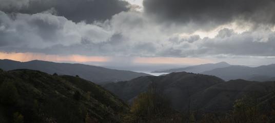 Foto op Canvas Donkergrijs thunderstorm above Portofino, Italy
