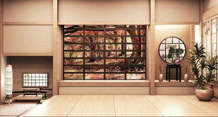Paper window wooden design on Empty room white on wooden floor japanese interior design.3D rendering