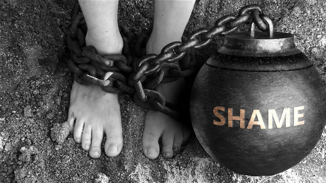 Shame as a negative aspect of life - symbolized by word Shame and and chains to show burden and bad influence of Shame, 3d illustration