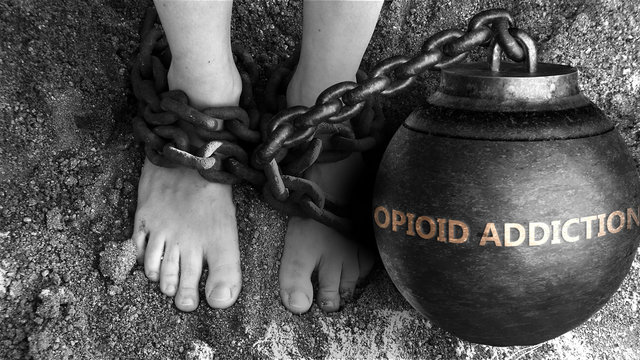 Opioid addiction as a negative aspect of life - symbolized by word Opioid addiction and and chains to show burden and bad influence of Opioid addiction, 3d illustration