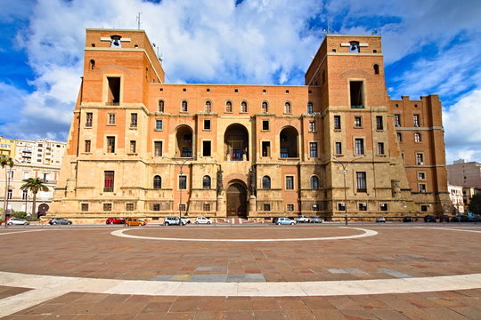Government building, Taranto, Puglia, Italy. It is located in Taranto and is the seat of the Prefecture and the provincial administration. It was inaugurated in 1934 by Benito Mussolini