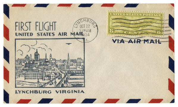 Lynchburg, Virginia, The USA  - 22 October 1934: US historical envelope: cover with cachet first flight, Air mail, city view, eight cents stamp