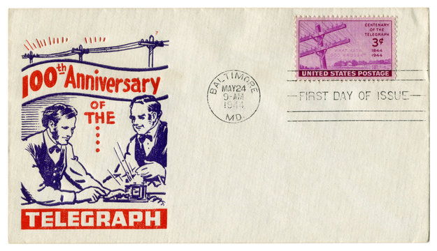 Baltimore, Maryland, The USA  - 24 May 1944: US historical envelope: cover with cachet 100th anniversary of the telegraph, 1844-1944, Electrical pole stamp, three cents