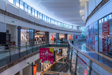 """VARNA, BULGARIA - JUNE 26, 2019: The interior of the shopping and entertainment center """"Delta Planet""""."""