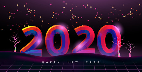 Wall Mural - Happy New year 2020 80s disco party card