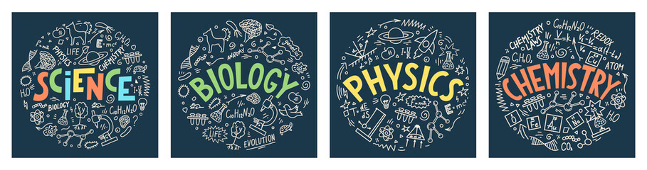 Science. Biology. Physics. Chemistry. Set from hand drawn doodles with lettering. School subjects vector illustrations on dark blue background.
