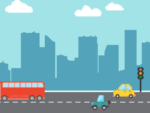 Pixel cartoon cars, bus. Vector set. Pixel art 8 bit. Perfect for fabric, wallpaper, game, wrapping paper and stationery projects.