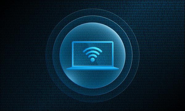 Laptop wifi in digital sphere with pulse effect technology