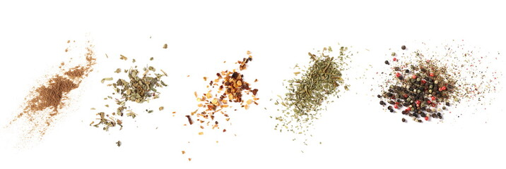 Zelfklevend Fotobehang Hot chili peppers Set cinnamon powder, basil, ground dry chili pepper, parsley, colorful pepper grain and minced, background, top view texture