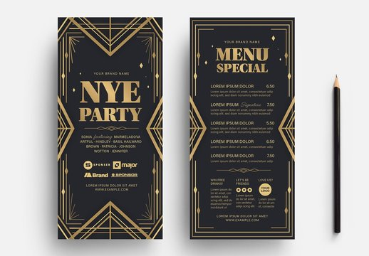 Art Deco New Year Party Flyer Card Layout