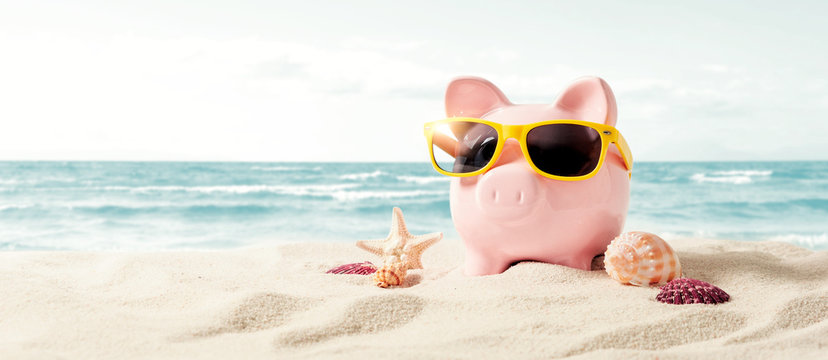 Piggy bank on vacation. Finance and travel concept