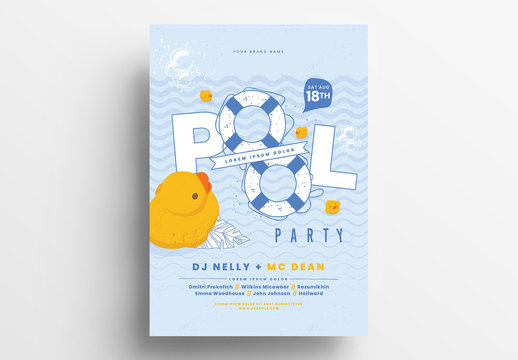 Pool Party Poster Layout with Rubber Ducky Illustration
