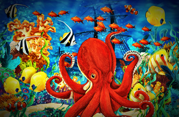 Türaufkleber Rot kubanischen cartoon scene animals swimming on colorful and bright coral reef - illustration for children
