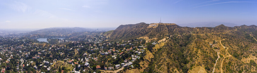 The Hollywood Sign panorama aerial view Griffith Park, Mount Lee, Hollywood Hills in Los Angeles, California CA, USA.