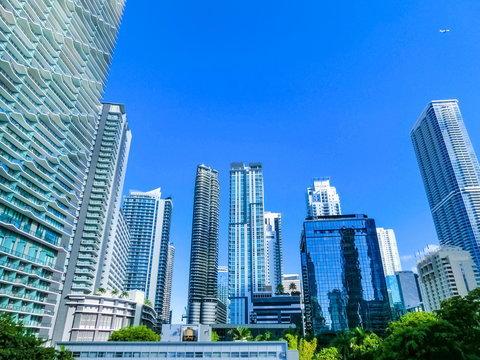 Downtown Miami cityscape view with condos and office buildings.