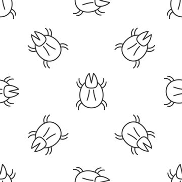 Grey line Parasite mite icon isolated seamless pattern on white background. Vector Illustration