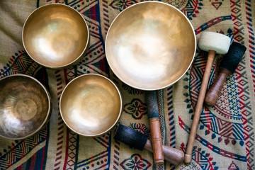 Accessories for sound massage. Tibetan singing bowls treatment Fotobehang