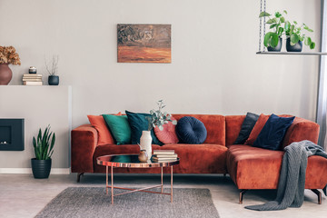 Real photo of an elegant living room interior with cushions and gray blanket on a red settee Fototapete