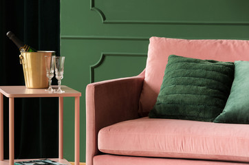 Space for relax with pink velvet sofa Wall mural