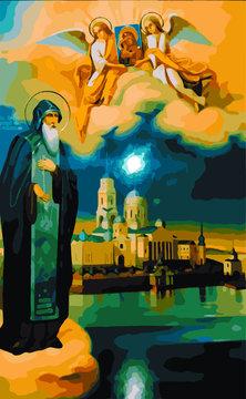Saint Nilus, icon (vector)