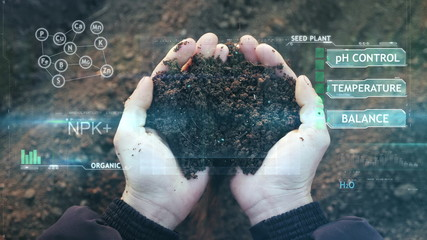 POV view of farmer owner control soil quality before seed plant. Future agriculture concept. Close-up hands with the ground. Smart farming, using modern technologies in agriculture Fotomurales