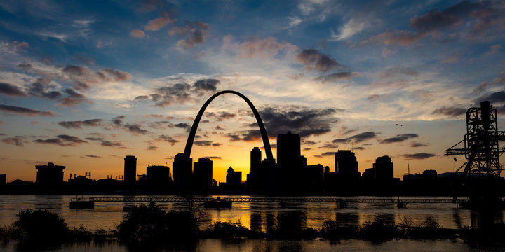 MAY 13 2019, ST LOUIS, MO., USA - St. Louis, Missouri skyline on Mississippi River - shot from East St. Louis, Illinois