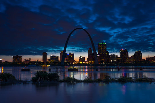 MAY 2019, ST LOUIS, MO., USA - St. Louis, Missouri skyline on Mississippi River - shot from East St. Louis, Illinois