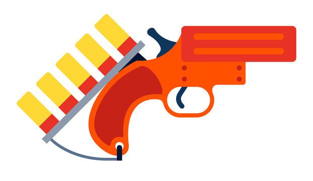 Signal flare gun vector icon flat isolated