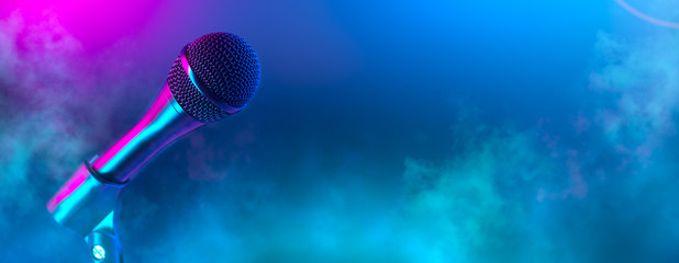 Microphone on stage close-up. Mic closeup. Karaoke, night club, bar. Music concert. Mike over...