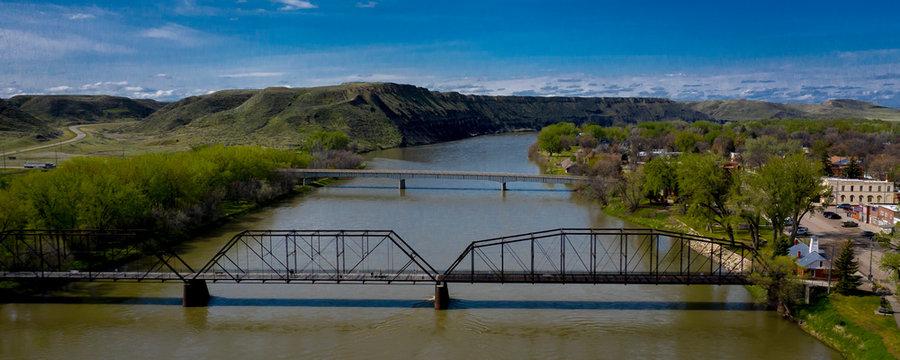 MAY 22, 2019, Fort Benton, Montana, USA - Historic Fort Benton, and Fort Benton Bridge, Montana, site of Lewis and Clark and the birthplace of Montana