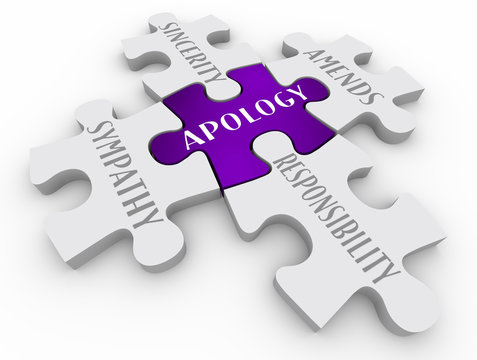 Apology Sorry Sympathy Amends Responsibility Puzzle Pieces 3d Illustration